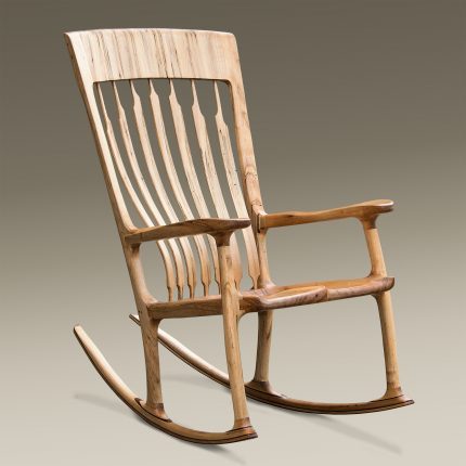 Handcrafted Floating Spalted Maple Rocking Chair