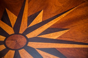 Compass Table with detail of marquetry