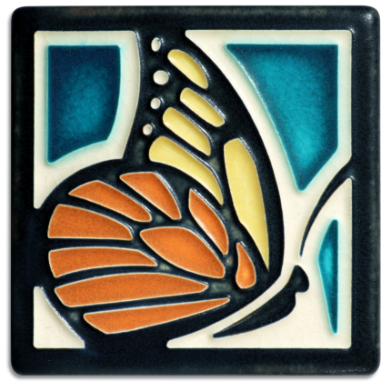 4x4 Butterfly Tile in Turquoise