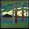 6x6 Pine Landscape Summer Mountain Tile
