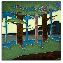8x8 Pine Landscape Summer Mountain Tile