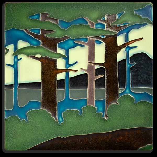 8x8 Pine Landscape Summer Mountain Tile