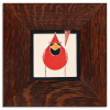 Cardinal in Oak Frame