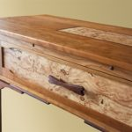 Cherry & Locust Burl One Drawer Console front detail