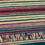 Green & Red Striped Hooked Rug Detail
