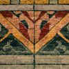 Green Stained Glass Hand-Knotted Rug detail