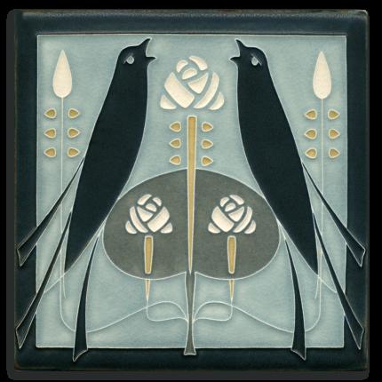 Grey Blue Songbirds Tile