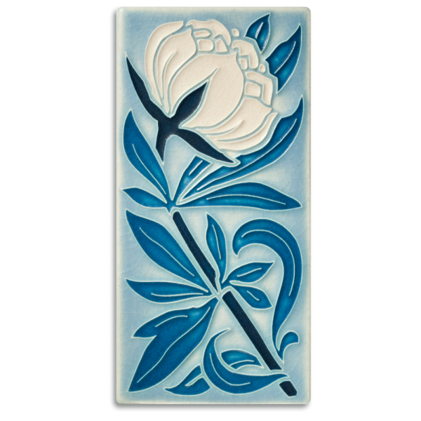 Pale Blue Peony Tile