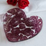 Roses Glass Heart Plate