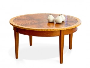 Round Exotic Wood Coffee Table