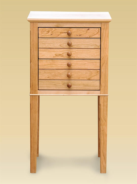 Three Drawer Tall Shaker Table Natural Cherry Sawbridge