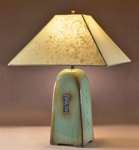 Celedon Lamp with Natural Lotka Shade