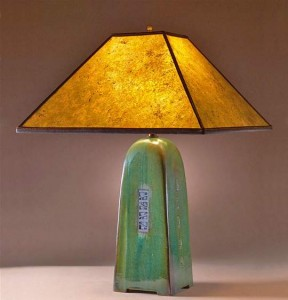 Moss Lamp with Amber Mica Shade