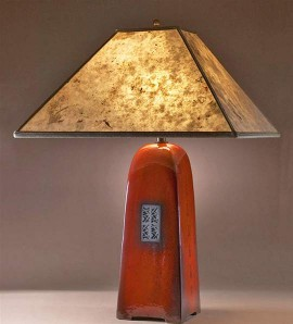 Russet Lamp with Silver Mica Shade