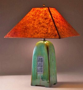 "Moss Lamp (22"") with Coffee Lotka Shade"