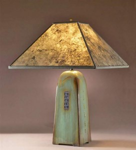 Celadon Lamp with Silver Mica Shade