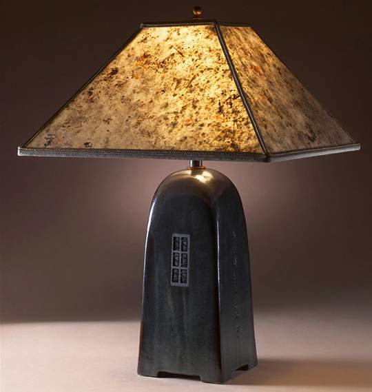 Onyx Lamp with Silver Mica Shade