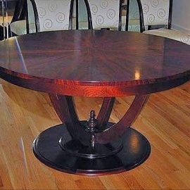 Custom Mahogany Pedestal Round Extending Dining