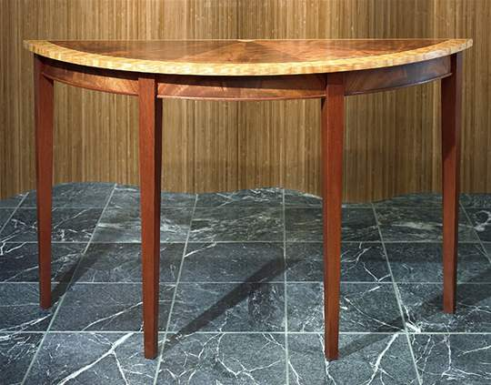Demilune Exotic Wood Console Table