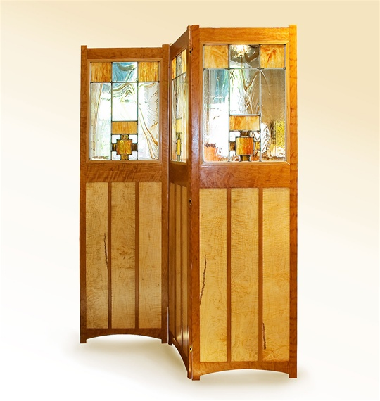 Solid Hardwood and Art Glass Room Screen