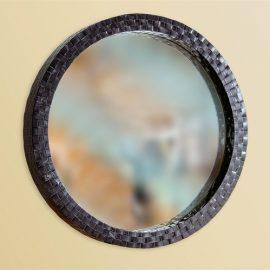 Round Woven Steel Mirror