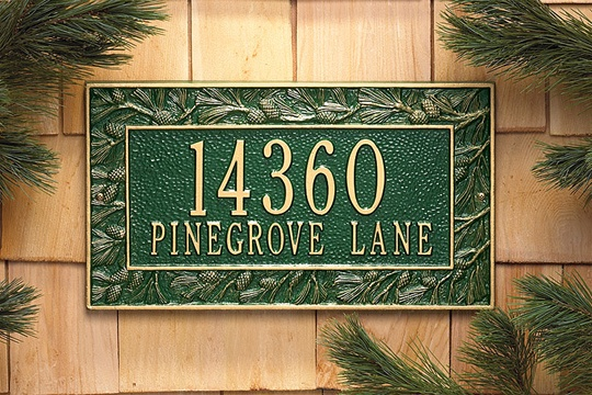 Pine Address Plaque