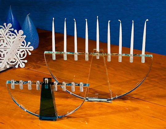 Crystal Crescent Menorah