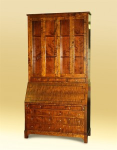 Campaign-Style Tiger Maple Desk Hutch