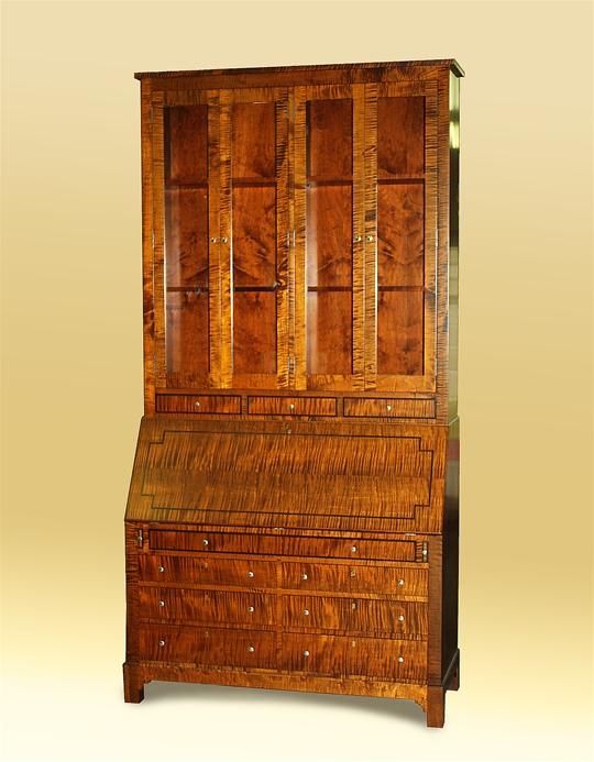 Campaign-Style Tiger Maple Desk Hutch