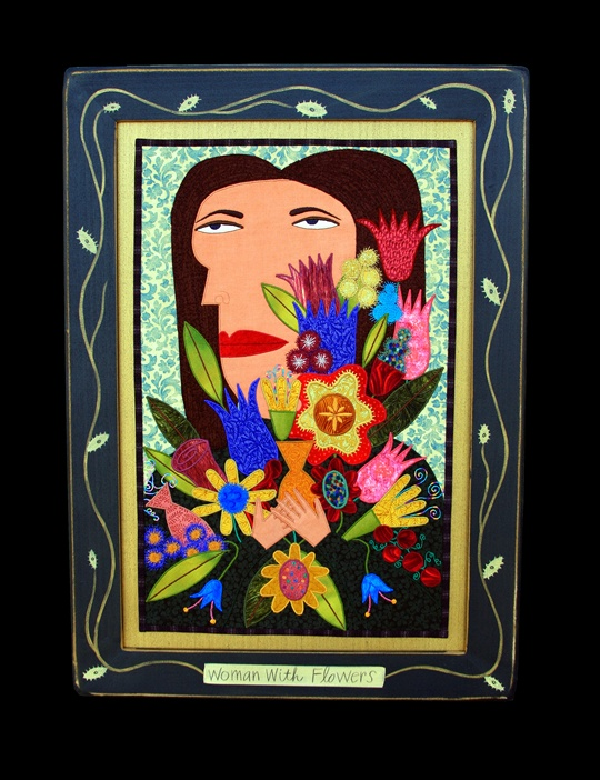 Woman with Flowers Fabric Painting