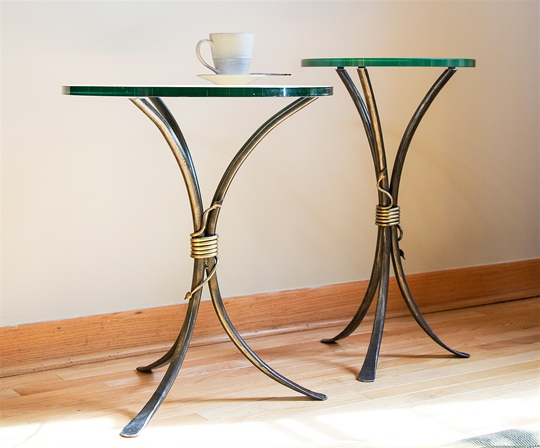 Iron & Glass Tables - Drink Table and Side Table