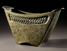 Bucket Vessel with Woven Inlay in Sage