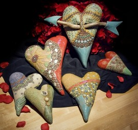 Whimsical Stoneware Hearts