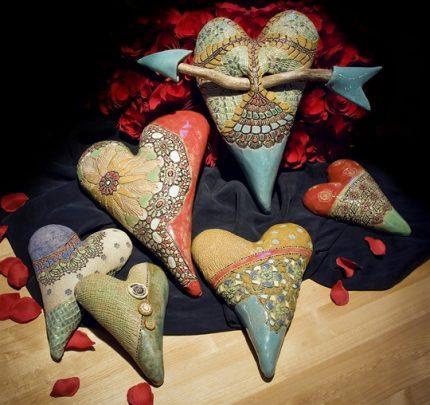 Whimsical Stoneware Hearts