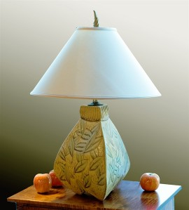 Three-Sided Bulbous Lamp in Gold