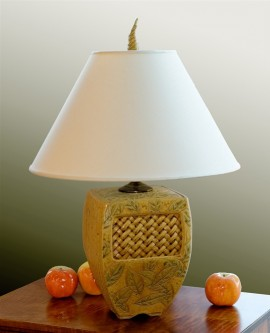 Leaf and Basketweave Lamp