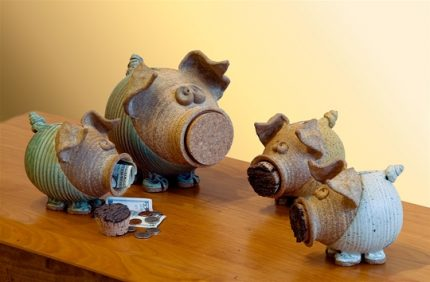Ribbed Piggy Banks, Large