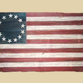 Reclaimed Barn Wood Betsy Ross Flag - Harvard, IL