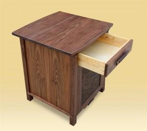 Custom Walnut End Table open drawer detail