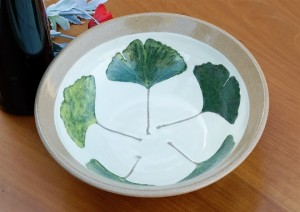 High Ginkgo Serving Bowl inside