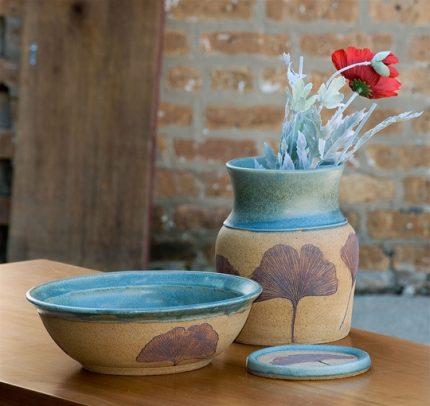 Arts Crafts Green Ginkgo Vessles