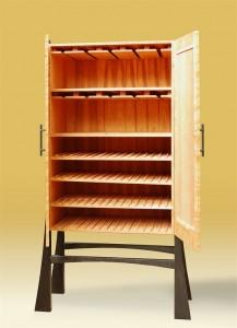 Custom Prairie Windows Wine Cabinet Open