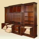 Custom Walnut Entertainment Center Open Door View