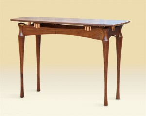 Copper and Walnut Console Table