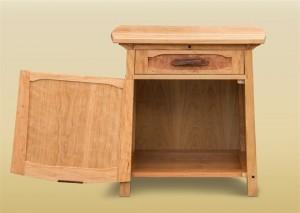 Burled Side Cabinet open door view