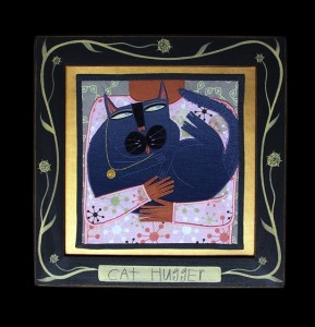 Cat Hugger Fabric Painting