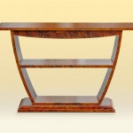 Walnut Burl Veneer Console Table front view