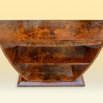 Walnut Burl Veneer Elephant Console Table above view