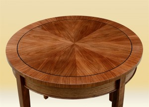 "30"" Walnut Round Side Table detail"
