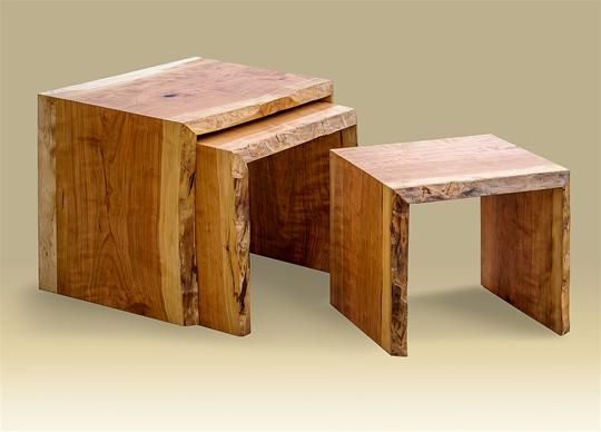 Cherry Rustic Live Edge Nesting Tables